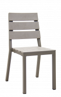 Outdoor Aluminum Chair with Imitation Teak Slat Seat and Back in Grey Finish