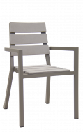 Outdoor Aluminum Armchair with Imitation Teak Slat Seat and Back in Grey Finish