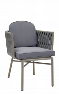 Outdoor Aluminum Grey Finish Armchair with Cushioned Seat and Back