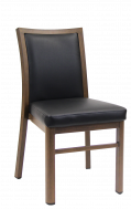 Indoor Aluminum Chair with Black Vinyl Seat and Back