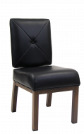 Indoor Aluminum Chair with Black Vinyl Cushioned Seat and Back