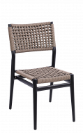 Black Aluminum Chair with Terylene Fabric (Polyester) Seat & Back