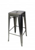 Clear Coat Backless Metal Bar Stool, with Minor Rust (SALE AS IS)