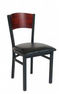 Fan Dark Mahogany Back Metal Chair w./ vinyl Seat