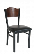 Wave Walnut Back Metal Chair with Black Vinyl Seat