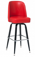 Black Metal Swivel Barstool & Bucket Seat, Red