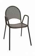 Metal Patio Stack Chair with Armrest