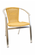 Aluminum Stackable Chair with Armrest, Synthetic Bamboo in Natural