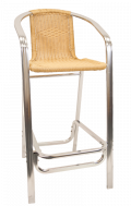 Aluminum Barstool with Armrest, Synthetic Bamboo in Natural