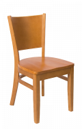 Beechwood Curve Plain Back Chair w/ Cherry Frame and Wood Seat