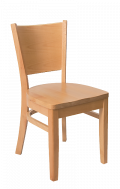 Beechwood Curve Plain Back Chair w/ Natural Frame and Wood Seat