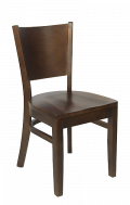 Beechwood Curve Plain Back Chair w/ Walnut Frame and Wood Seat
