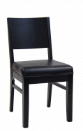 Beech Wood Chair in Black Finish with Black Vinyl Seat