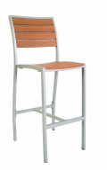 Aluminum Bar Stool with Imitation Teak Slats