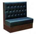Button Tufted Black Vinyl Single Booth