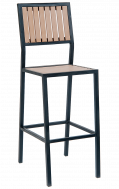 Outdoor Vertical Slat Imitation Teak Metal Barstools