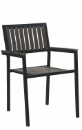 Outdoor Vertical Slat Plasteak Metal Armchair, Grey