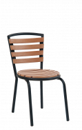 Curved Imitation Teak Slat Metal Outdoor Chair, Coral