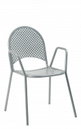 Metal Patio Stack Chair with Armrest, Grey Finish