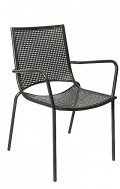 Iron Armchair with Punched Hole Mesh, Stackable