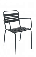 Outdoor Steel Armchair in Black Finish