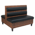 Synthetic Wicker Double Booth W/. Black Vinyl Back & Seat