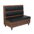 Synthetic Wicker Single Booth W/. Black Vinyl Back & Seat