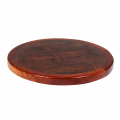 24''Round Resin table with Wood Edge, Walnut/Ochre