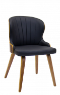 Indoor Veneer Chair with Black Vinyl Seat and Back