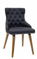 Indoor Veneer Chair w/ Black Vinyl Seat and Back