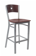 Grey Frame,Star Back Metal Barstool w/ Dark Mahogany Back and Veneer Seat