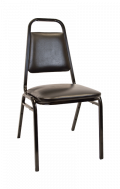 Commercial Metal Stack Chair with 1 inch Black Cushion