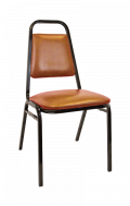 Commercial Metal Stack Chair with 1 inch Brown Cushion