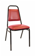 Commercial Metal Stack Chair with 1 inch Red Wine Cushion