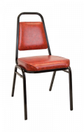 Commercial Metal Stack Chair with 2 inch Red Wine Cushion