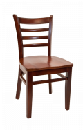 Beechwood Ladder Back Chair w/ Dark Mahogany Frame and Wood Seat