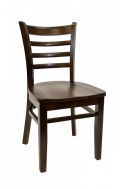 Beechwood Ladder Back Chair w/ Walnut Frame and Wood Seat