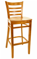 Beechwood Ladder Back Barstool w/ Cherry Frame and Wood Seat