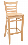 Beechwood Ladder Back Barstool w/ Natural Frame and Wood Seat