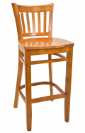 Beechwood Vertical Slat Side Barstool w/ Cherry Frame and Wood Seat