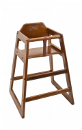 Wood High Chair in Walnut Finish