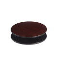 24'' Round Reversible Table Top, Black and Dark Mahogany
