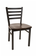 Ladder Back Metal Chair w/ Wood Seat