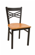 X Back Metal Chair w/ Veneer Seat