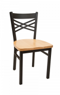 X Back Metal Chair w/ Wood Seat