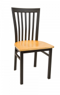 Elongated Vertical Back Metal Chair w/ Veneer Seat