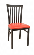 Elongated Vertical Back Metal Chair w/ Vinyl Seat