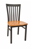 Elongated Vertical Back Metal Chair w/ Wood Seat