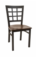 Window Back Metal Chair w/ Veneer Seat