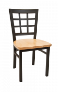 Window Back Metal Chair w/ Wood Seat